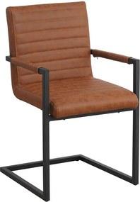 Viverne | Eetkamerstoel Kubiko - totaal: breedte 54 cm x diepte 57 cm x hoogte cognac eetkamerstoelen pu leer, metaal stoelen | NADUVI outlet