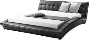 Bed leer zwart 160 x 200 cm LILLE