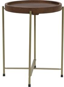 Bijzettafel SALITRE - hout-brons - Ø40x45cm