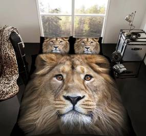 Leeuw 2 persoons dekbedovertrek, Leeuwen dekbed 200 x 200 cm