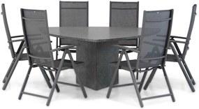 Domani Sortino/Graniet triangel 170 cm dining tuinset 7-delig