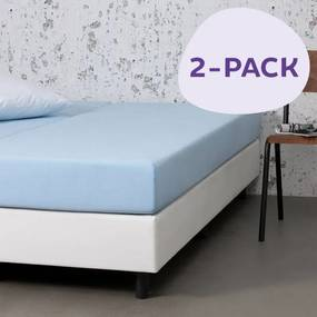 Dekbed-Discounter 2-PACK Jersey Stretch Hoeslakens Kleur: Blauw, 140 x 200