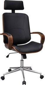 Bureaustoel draaibaar gebogen hout kunstleren bekleding en hoofdsteun