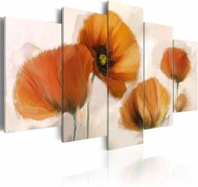 Schilderij - Oranje klaprozen , 5 luik