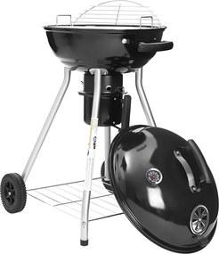 Nancy's Kogelbarbecue - Met Deksel en Thermometer - 4 poten - Met Wielen - Geëmailleerde Staande Barbecue met Legrooster - Handgreep - Zwart - Ø 44 cm