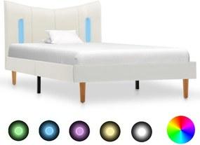 Bedframe met LED kunstleer wit 100x200 cm