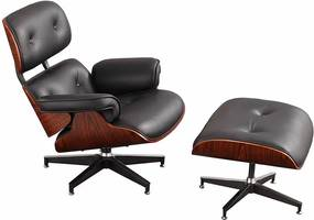 Eames Lounge Chair (replica) met ottoman/Hocker (set) - Zwart Leder me