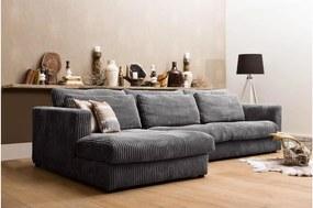 Goossens Bank Ravenia Met Chaise Longue zwart, stof, 2,5-zits, stijlvol landelijk met chaise longue links