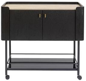 Kare Design Milano Zwarte Design Wijnkast Trolley - 96.5 X 50cm.