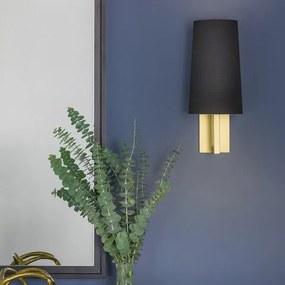 Astro Riva 350 wandlamp met kap zwart stof exclusief E27 mat goud 8x15.3cm IP44 staal A 7570