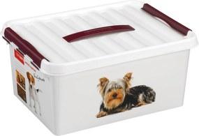 Q-line Huisdieren Opbergbox 15L - wit/bordeaux