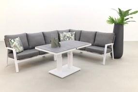 Azoren lounge dining set rechts - white (tafel verstelbaar in hoogte)