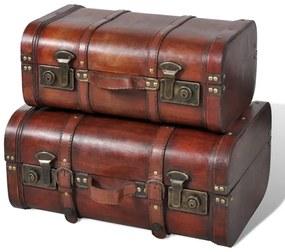 Schatkisten 2 st vintage-stijl hout bruin