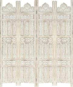Kamerscherm met 4 panelen handgesneden 160x165 cm mangohout wit