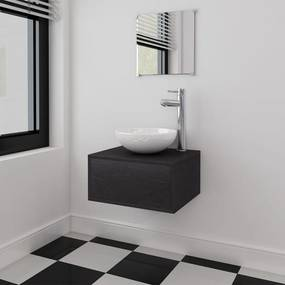 Badkamermeubelset 4-delig met kraan en wasbak zwart