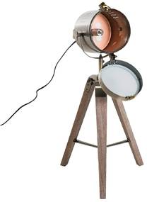 HOMdotCOM Tafellamp met 3 poten retro hout brons E14 33 x 33 x 65cm