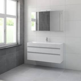 Bruynzeel Roma badmeubelset 120x60.5x46cm met spiegelkast mat wit 227671k