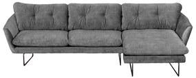 Loungebank Kuddar chaise longue rechts | velours Adore grijs 180 | 2,71 x 1,60 mtr breed