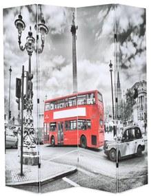 Kamerscherm inklapbaar Londen bus 160x170 cm zwart en wit