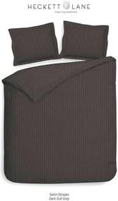 Heckett & Lane dekbedovertrek Uni Stripe - antraciet - 240x220 cm - Leen Bakker