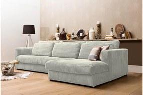Goossens Hoekbank Ravenia Met Chaise Longue In Ribstof wit, stof, 2,5-zits, stijlvol landelijk met chaise longue rechts