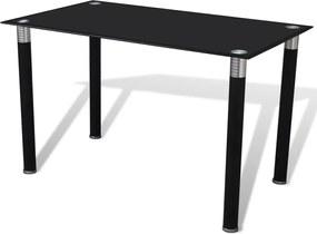 Eettafel met glazen tafelblad zwart