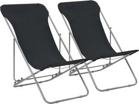 Strandstoelen inklapbaar 2 st staal en oxford stof zwart