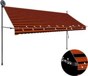 Luifel handmatig uittrekbaar met LED 350 cm oranje en bruin