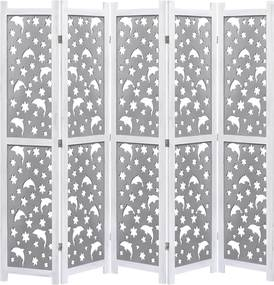 Kamerscherm met 5 panelen 175x165 cm massief hout grijs