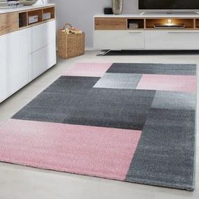 Vloerkleed - Blocks - Roze Lucca Patroon 80 x 150 cm - Ga naar Dekbed-Discounter.nl & Profiteer Nu