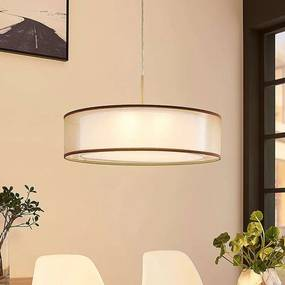 Stoffen hanglamp Amon dimbare LEDs, bruin