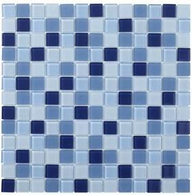 The Mosaic Factory Montreal mozaïektegel 2.3x2.3x4cm wand en vloertegel voor binnen en buiten vierkant helder glas blauw mix MOMIX20