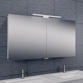Spiegelkast Larissa 120x60x14cm Aluminium LED Verlichting Stopcontact Binnen en Buiten Spiegel Glazen Planken