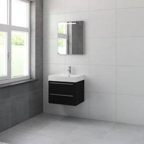 Bruynzeel Bando badmeubelset 60x55x45cm met spiegel aluminium greeplijst zijde zwart 616603k
