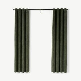 Castele gordijnen met ringen en voering, 135 x 260 cm, donkergroen