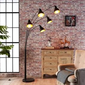 Extravagante vloerlamp Lira in zwart en goud - lampen-24