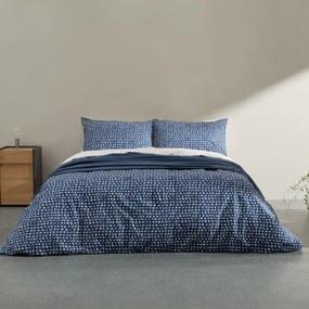 Uxi katoenen dekbedset, tweepersoons, nachtblauw en gewassen rood