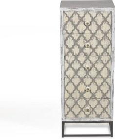 Vintage Ladekast Met Houtsnijwerk - 45x35x115cm.