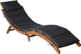 Ligstoel met kussen massief acaciahout donkergrijs