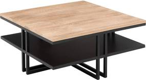 Goossens Salontafel Mamilo vierkant, hout eiken onbewerkt, elegant chic, 80 x 35 x 80 cm