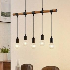 Sibillia hanglamp met hout, 5-lamps - lampen-24