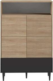 Symbiosis wandkast Esby - eikenkleur/zwart - 140,6x90x40 cm - Leen Bakker
