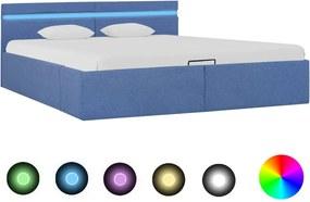 Bedframe met hydraulische opslag en LED stof blauw 180x200 cm