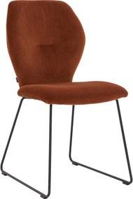 Goossens Eetkamerstoel Hera Sledepoot oranje stof , modern design