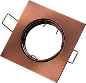 Inbouwspot, Vierkant, Kantelbaar, Geborsteld Aluminium, Brons