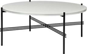 Gubi TS Table Glass salontafel 80cm zwart onderstel oester wit