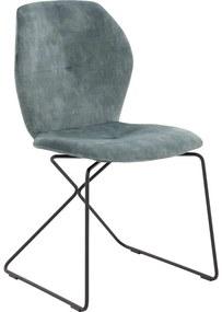 Goossens Eetkamerstoel Manzini groen stof modern design