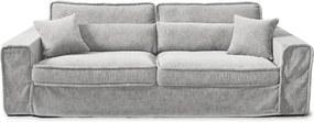 Rivièra Maison - Metropolis Sofa 3,5 seater, velvet, platinum - Kleur: grijs
