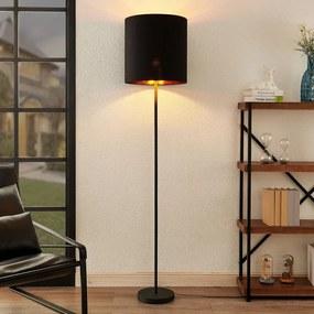 Nymar vloerlamp, stof, zwart-goud - lampen-24