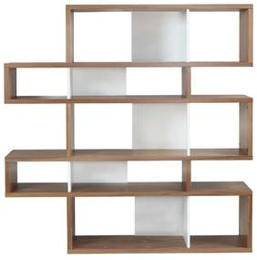 TemaHome London Design Boekenkast Walnoot - Wit - 156x34x160cm.